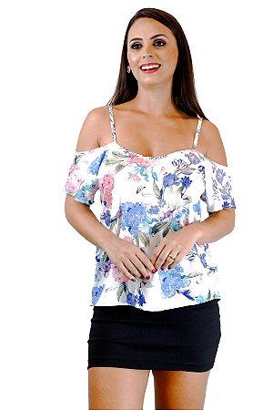 Blusa alça com ombro de fora estampa flor