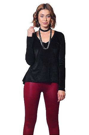 Blusa sainha veludo preto