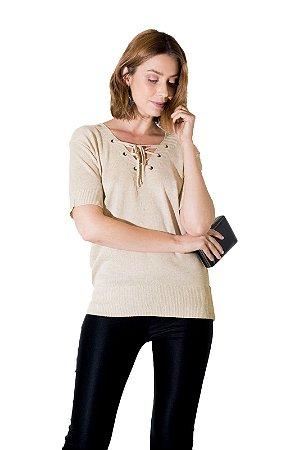 Blusa trança decote Tricot bege