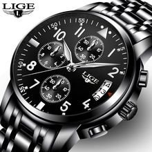 34a4fceefc0 LIGE Mens Relógios Top Marca de Luxo dos homens alfha