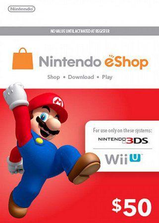 Cartão Nintendo eShop Crédito Switch / Wii U / 3DS - $50 Dólares