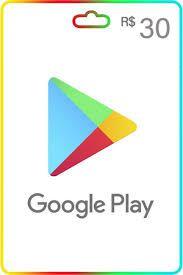 Cartão Google Play 30 reais Gift Card recarga Google Play