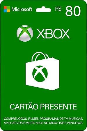 Cartão Xbox 80 Reais Gift Card Microsoft Brasil