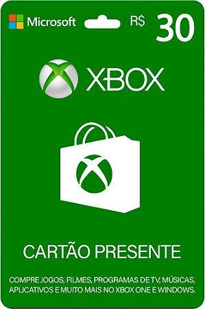 Cartão Xbox 30 Reais Gift Card Microsoft Brasil