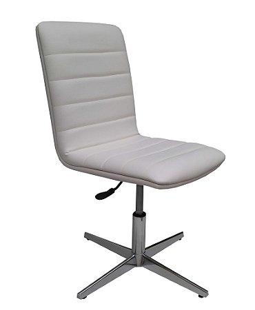 Cadeira para sala de jantar estofada Modelo LV70B com base em alumínio e regulagem de altura. LV ESTOFADOS.