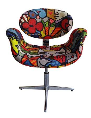 Cadeira Tulipa tecido decorativo com base alumínio 4 pontas e regulagem de altura, Lançamento Lv Estofados.