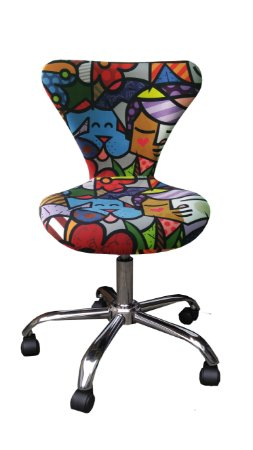 Cadeira Formiga Estofada Modelo LV42 com base estrela cromada, rodízios de silicone e regulagem de altura. Lv Estofados