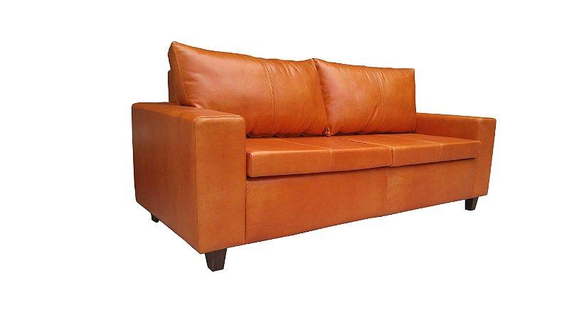 Sofá em Couro natural (ORIGINAL), 3 lugares, com almofadas moveis. Varias opções de cores. Lv Estofados