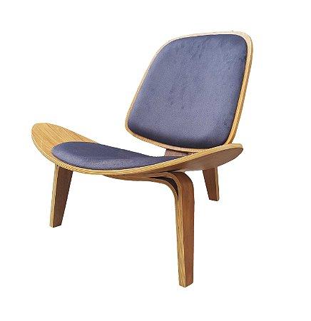 Poltrona Em madeira com assento e encosto estofado (várias Opções de tecidos e cores). Modelo Lv102.