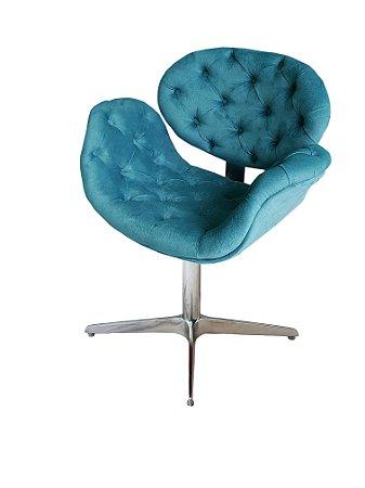 Cadeira Tulipa Capitonê com base 4 pontas em alumínio e regulagem de altura. Lv Estofados