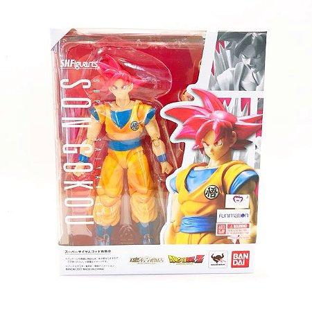 SHF - S.h. Figuarts Dragon Ball - Super Saiyan Son Goku Deus Cabelo Vermelho
