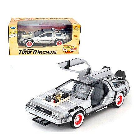 Miniatura De Volta Para o Futuro III Carro Delorean Time Machine escala 1:24 Welly