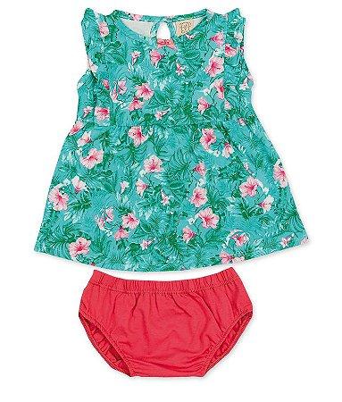 Vestido e Calcinha Floral Verde