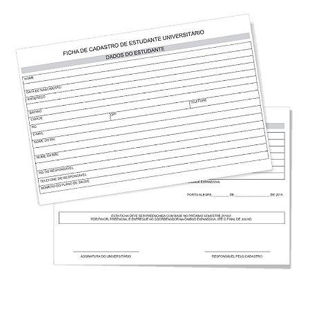 FICHAS - 15X20cm - FRENTE E VERSO - C/ ARTE INCLUSO - 100 UNIDADES