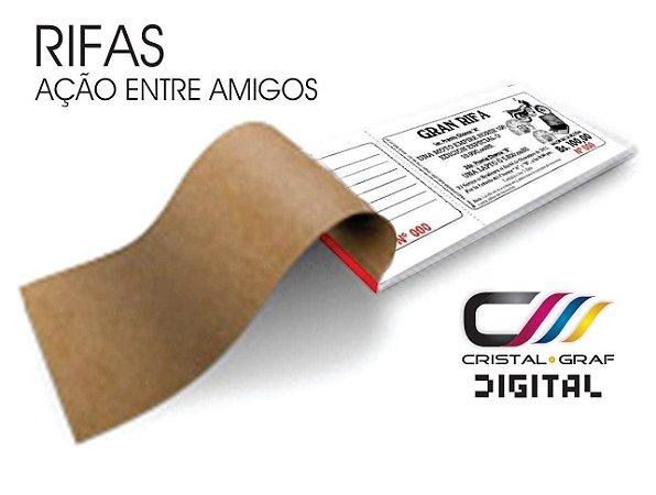 500 RIFAS - 10 BLOCOS - C/ 50 FOLHINHAS - NUMERADO - C/ ARTE INCLUSO