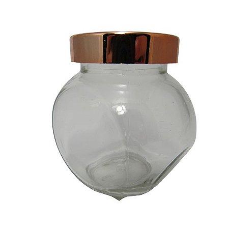 Pote para Condimento de vidro tampa Rose Gold P  cód S1904B