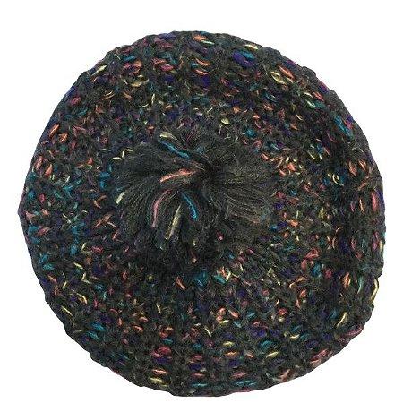 Touca de Lã Azul Mesclada Color com pompom
