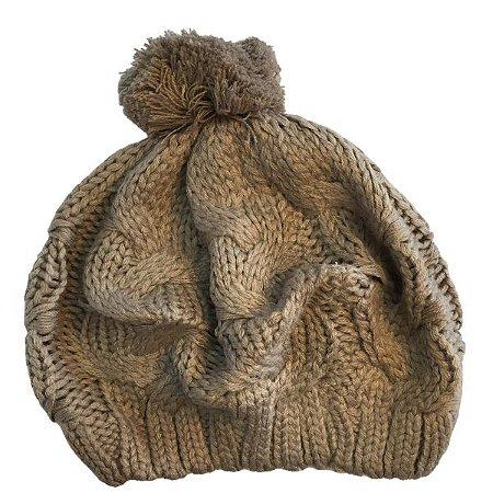 Touca de Lã Cáqui com pompom