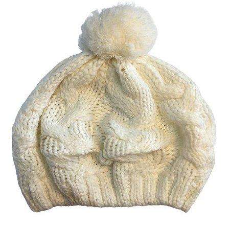 Touca de Lã Branca com pompom