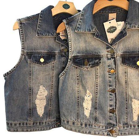 Colete Jeans Curto 48