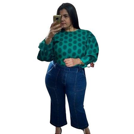 Calça Pantacourt Jeans c/ Bolso Chapado