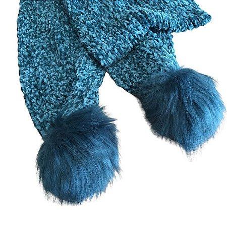 Cachecol de Tricot  Azul Mescla com Pompom