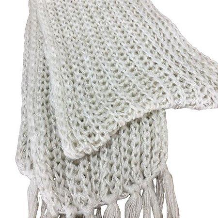 Cachecol lã Branco com franja
