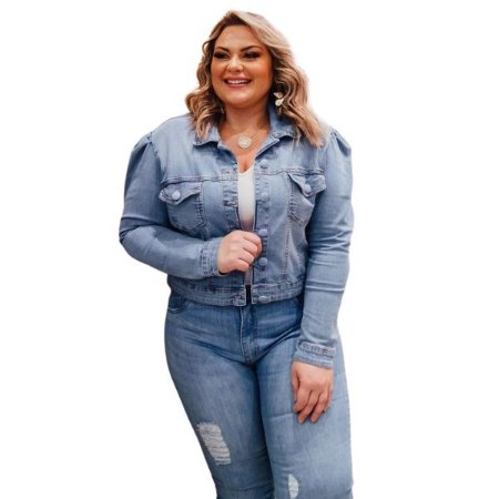 Jaqueta Jeans Mangas Bufantes