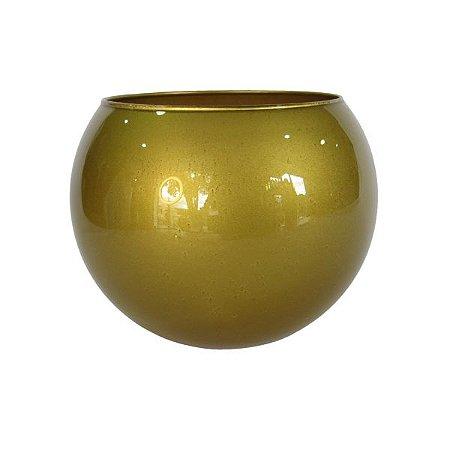 Vaso Aquário Dourado de Vidro