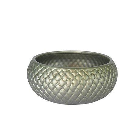 Vaso Cerâmica Pintado Prata