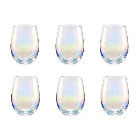 Jogo c/ 6 copos de vidro Ball Transparente Fruta Cor