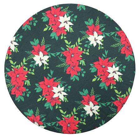 Capa De Souplast Dupla Face Natal Flores Bico de Papagaio/Vermelho com Poá Dourado 35 cm diâmetro