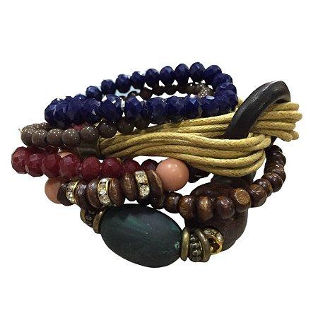 Conjunto c/ 7 pulseiras pedras e fios mostarda