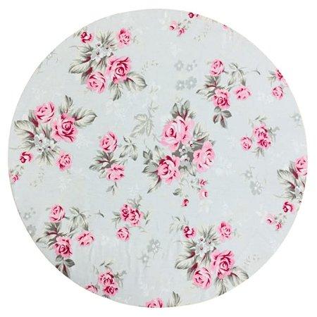 Capa de  Sousplat Branco Gelo c/ Rosas cor de Rosa 35 cm diâmetro