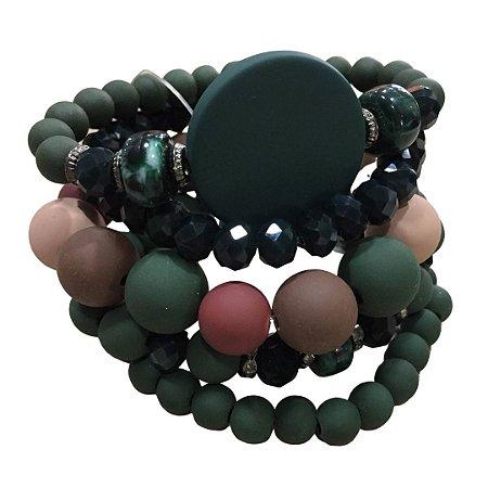 Conjunto c/ 7 pulseiras com bolas verdes