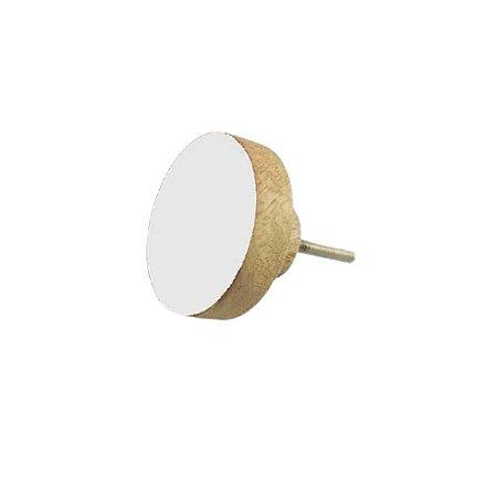 Puxador Madeira Redondo Médio Branco 58600