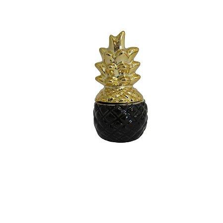 Objeto Decorativo Abacaxi Dourado c/Preto