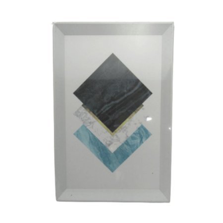Quadro Decorativo Moldura Branca Desenho Abstrato