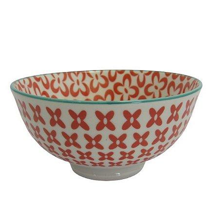 Bowl em Cerâmica com Desenhos Vermelho/Turquesa P Flores