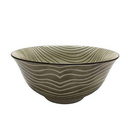 Bowl em Cerâmica Desenho Listras Marrom M