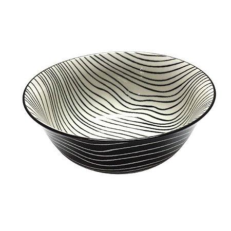 Bowl em Cerâmica Desenho Listras Preta M