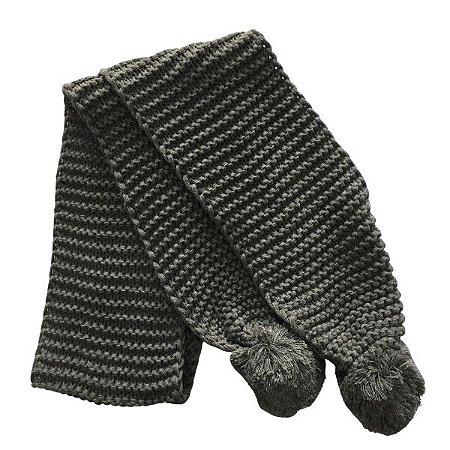 Cachecol lã Cinza com pompom (0,18 x 1,60)