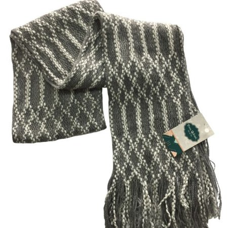 Cachecol lã cinza e branco com franja (0,20 x 2,00)