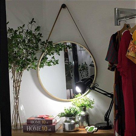 Espelho Adnet Dourado c/ Alça Marrom 60cm diâmetro