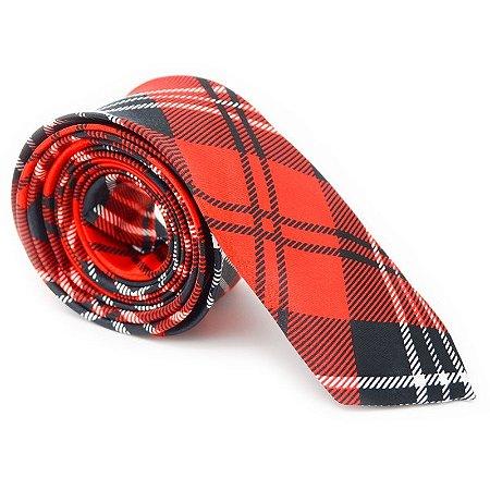 Gravata Slim Xadrez Vermelha