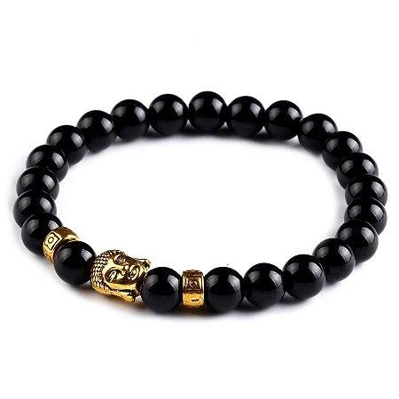 Pulseira Contas Black Onix Buddha
