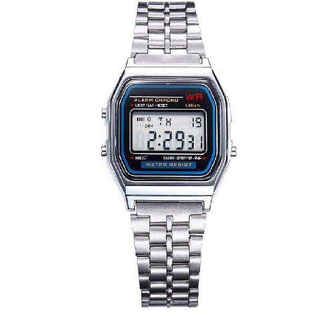 Relógio Digital Masculino Vintage Prateado