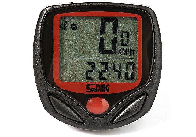 Velocimetro Sunding SD-548B com 14 funções Led Km Marcador Cronometro P/ Bicicleta Bike Bmx atacado revenda oferta