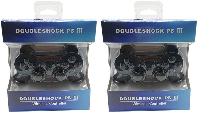 2 controle ydtech yd-4021 sem fio bluetooth ps3 vibração wireless cor preto bateria interna lacrado na caixa compatível com videogame playstation 3 sony