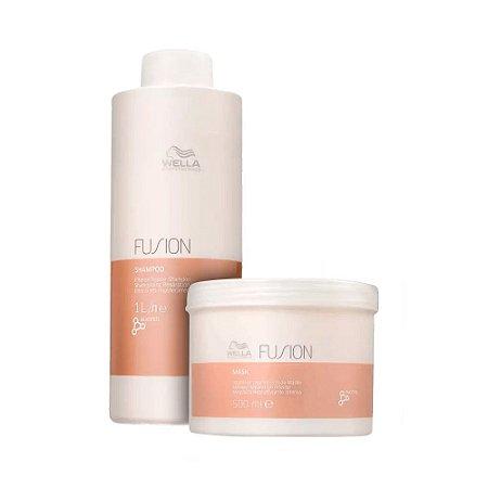 Kit Fusion Shampoo 1000ml e Máscara 500ml Wella Professional
